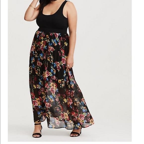 ce6971fbf9 Torrid Black Floral Chiffon Maxi Dress. M_5c61d25734a4ef1a6a657bed